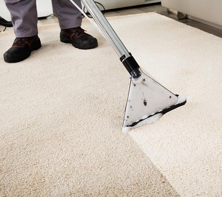 Reinigung eines hellen Stoffteppiches