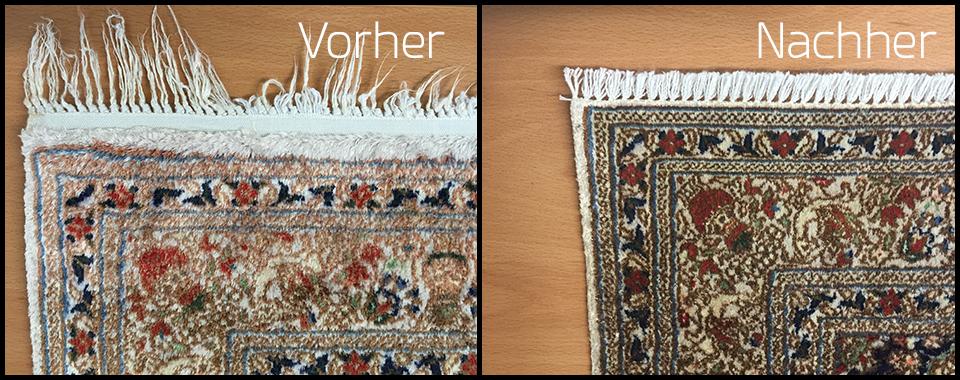 Fransenbefestigung von Teppichen